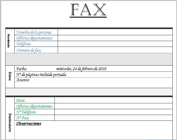 Modelo Fax plantilla