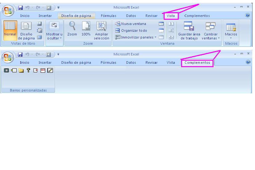 Barras de Microsoft Excel Microsoft Excel 2007