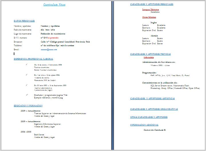 Curriculum Vitae Europeo Da Compilare Gratis Formato Word Medipro