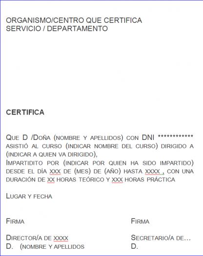 Certificado curso