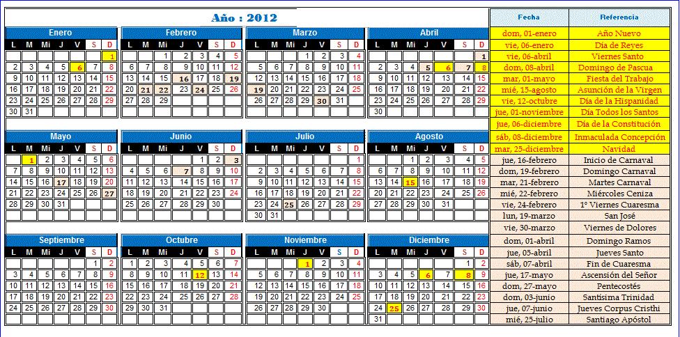 Calendario año:2013 (seleccione la imagen para ampliar)