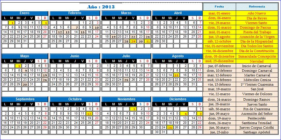 Calendario anual: 2012, 2013 y 2014