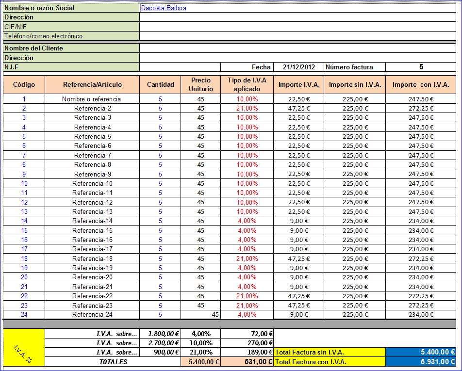 modelos de factura en excel
