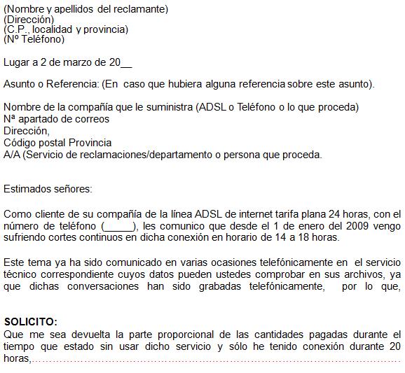 Word modelo reclamaciones desacuerdos etc o for Reclamacion clausula suelo acuerdo previo