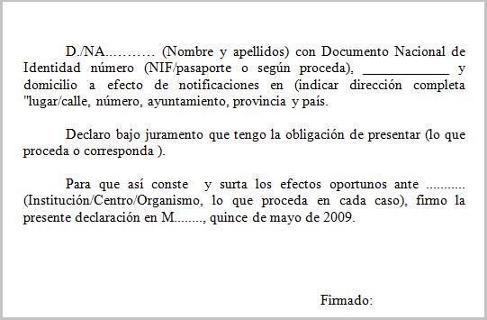 Modelo declaraci n jurada for Puedo ir a cualquier oficina del inem