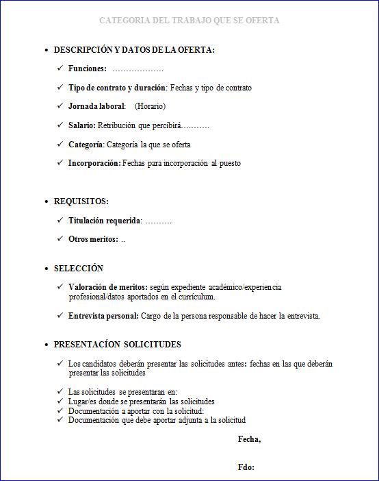 modelo oferta de trabajo
