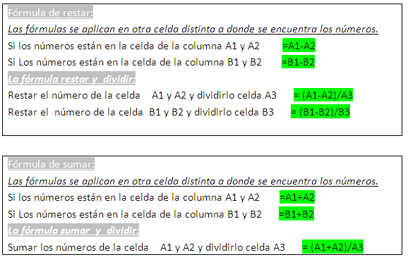 Fórmulas Excel (simples)