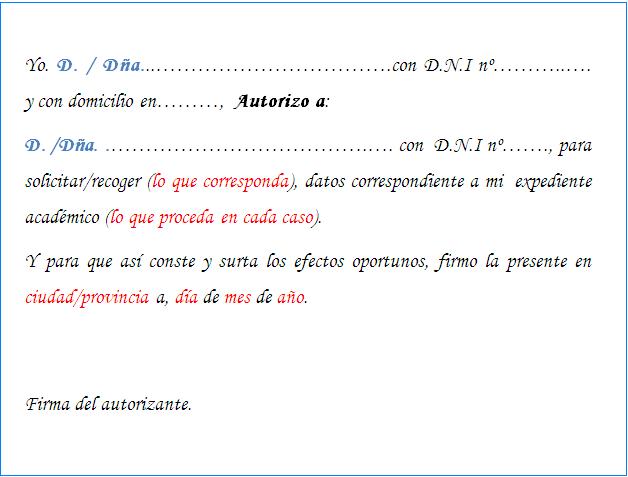 Autorizacion para recoger las notas