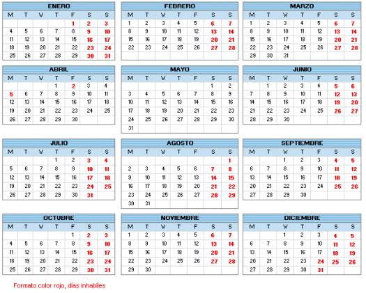 Calendario bolsa
