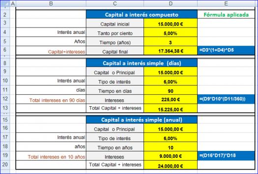 Hoja de excel cálculo interés simple y compuesto