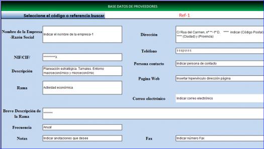 Base datos proveedores