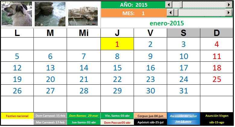 Calendario 2020 Excel Mensual.Calendario Mensual 2014 2015 2016 2017 2018 2019 2020