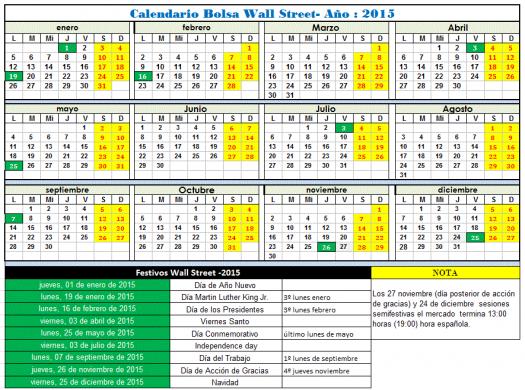 calendario Wall Street 2015